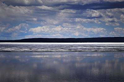 Photograph - Yellowstone Lake Reflection by Nadalyn Larsen