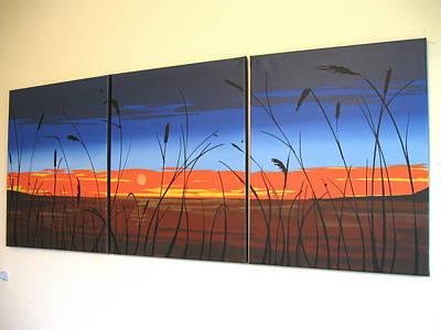 Handmad Painting - Lake View Wall Art Wall Hanging 48 X 20 Huge Canvas Art 3 Panel Wall Art Three Panel Wall Deco by Stuart Wright