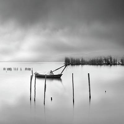 Pier Wall Art - Photograph - Lake View With Poles And Boat by George Digalakis