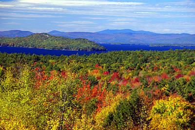 Photograph - Lake Winnipesakee New Hampshire Fall Color 1 by Robert Lozen