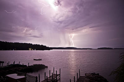 Photograph - Lake Winnipesaukee Lightning  by Robert Clifford