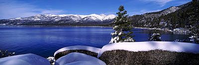 Sand Harbor Photograph - Lake With A Snowcapped Mountain Range by Panoramic Images