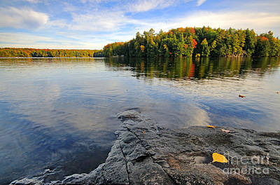 Photograph - Lake With Fall Color by Charline Xia
