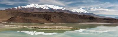 Lake With Snowcapped Volcanic Peaks Art Print