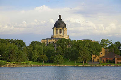 South Dakota Tourism Photograph - Lake With View Of South Dakota State by Panoramic Images