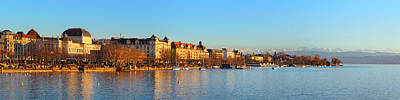 Art Print featuring the photograph Lake Zurich Panorama by Marc Huebner