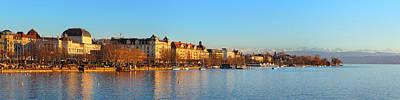 Lake Zurich Panorama Art Print by Marc Huebner