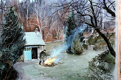 Lakeland Bonfire, 1996 Gouache Art Print by John Cooke
