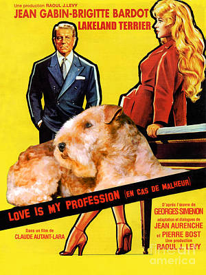 Painting - Lakeland Terrier Art Canvas Print - Love Is My Profession Movie Poster by Sandra Sij