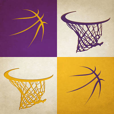 Lakers Ball And Hoop Art Print by Joe Hamilton