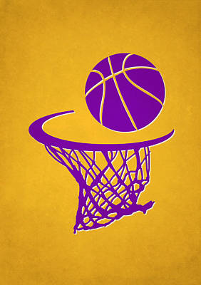 Lakers Team Hoop2 Art Print by Joe Hamilton