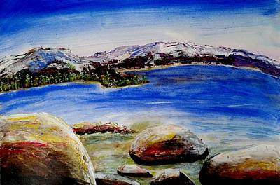 Art Print featuring the painting Lakeshore Boulders by Carol Duarte