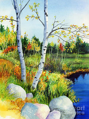 Lakeside Birches Print by Hailey E Herrera