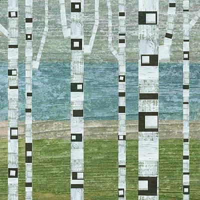 Oversized Digital Art - Lakeside Birches by Michelle Calkins