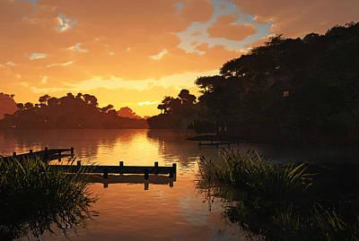 Boating Digital Art - Lakeside by Cynthia Decker