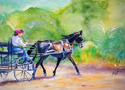 Carriage Driving Painting - Lakeside Drive 3 by Diana Prout