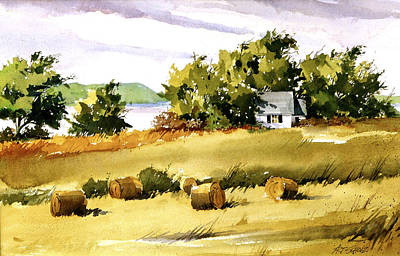 Lakeside Hay Art Print by Art Scholz