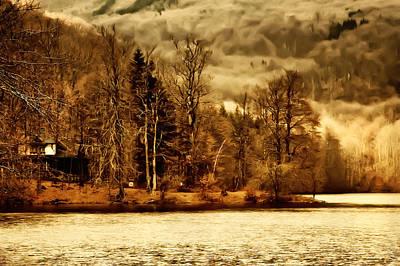 Cabin Window Mixed Media - Lakeside Log Cabin by Roman Solar