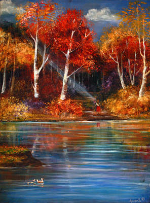 Wood Duck Painting - Lakeside Reflections by Averi Wolff