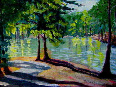 Painting - Lakeside Trail Enhanced by Gretchen Allen