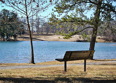 Photograph - Lakeside Walking Trail Bench 2 by Greg Jackson