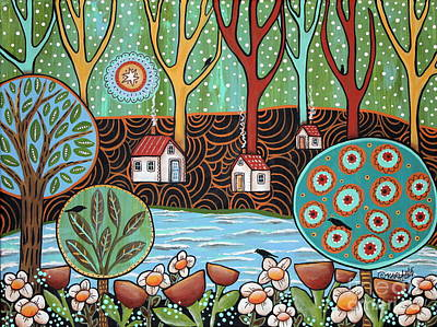 Folk Art Flowers Painting - Lakeside1 by Karla Gerard