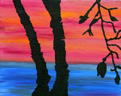 Art Print featuring the painting Lakeview Sunset by Vadim Levin