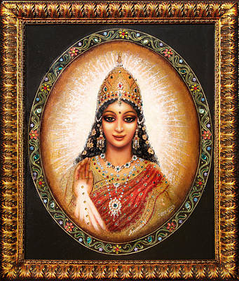 Art Print featuring the painting Lakshmi Goddess Of Abundance by Ananda Vdovic