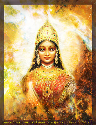 Art Print featuring the mixed media Lakshmi Goddess Of Abundance In A Galaxy by Ananda Vdovic
