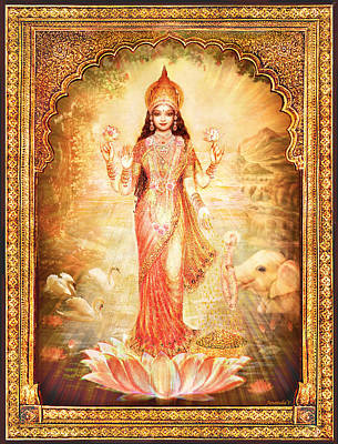 Mixed Media - Lakshmi Goddess Of Fortune With Lighter Frame by Ananda Vdovic