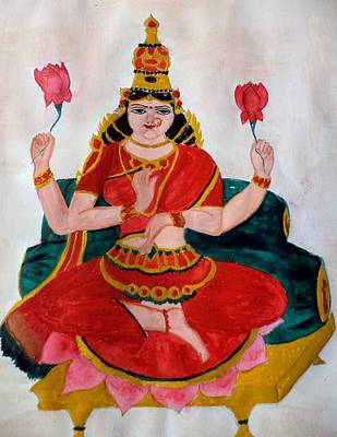 Devotional Painting - Lakshmi by Pratyasha Nithin