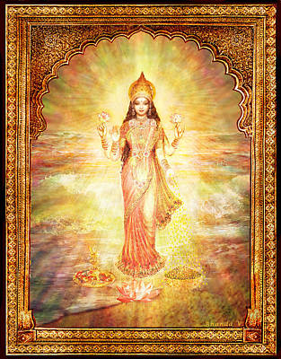 Art Print featuring the mixed media Lakshmi The Goddess Of Fortune And Abundance by Ananda Vdovic