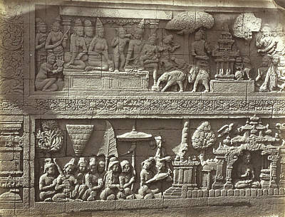 Maya Drawing - Lalitavistara Relief On The Main Wall Of The Second Gallery by Artokoloro