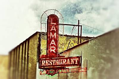 Photograph - Lamar Restaurant Sign by Jim Albritton