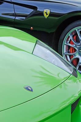 Photograph - Lamborghini - Ferrari Emblems by Jill Reger