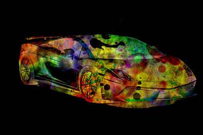 Sportscar Drawing - Lamborghini Gallardo Colorful Abstract On Black Background by Eti Reid