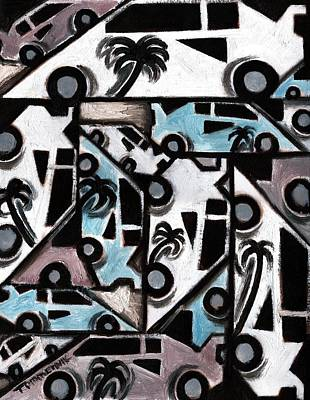 Miami Vice Painting - Exotic Cars Art Print by Tommervik