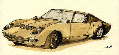 Classic Collection Painting - Lamborghini Miura by Juan  Bosco