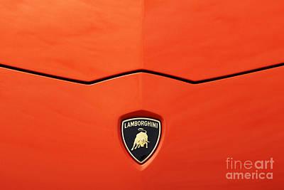 Car Emblems Photograph - Lamborghini Orange by Tim Gainey