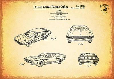Photograph - Lamborghini Patent by Mark Rogan