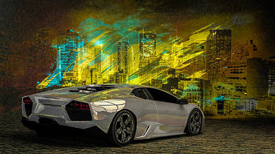 Nyc Digital Art - Lamborghini Reventon by Louis Ferreira
