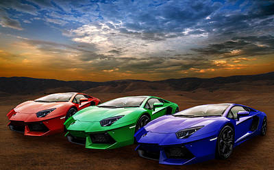 Photograph - Lamborghini Triplet by Matt Malloy