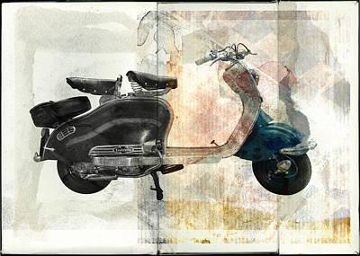 Scooter Digital Art - Lambretta Scooter by David Ridley