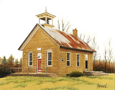 Art Print featuring the painting Lambson School by Ferrel Cordle