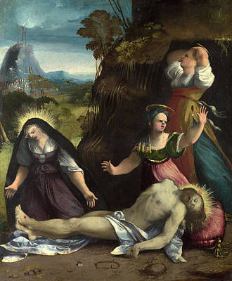 Religious Artist Painting - Lamentation Over The Body Of Christ by Dosso Dossi