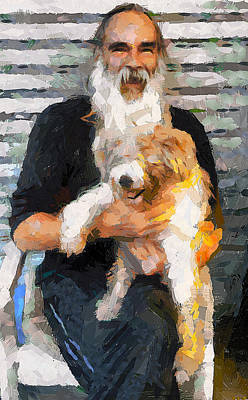 Building Exterior Digital Art - Lamma Island Nick The Booker With His Dog by Yury Malkov