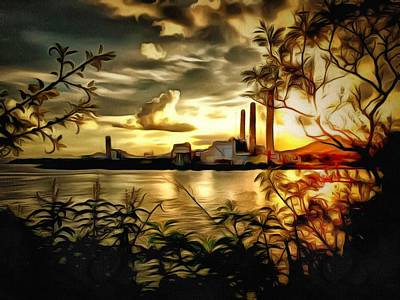Digital Art - Lamma Island Power Station 2 by Yury Malkov