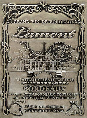 Merlot Mixed Media - Lamont Grand Vin De Bordeaux  by Jon Neidert