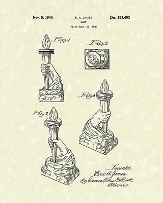 Drawing - Lamp 1940 Patent Art by Prior Art Design