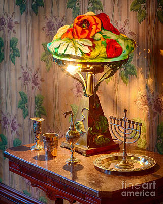 Lamp And Menorah Art Print by Inge Johnsson